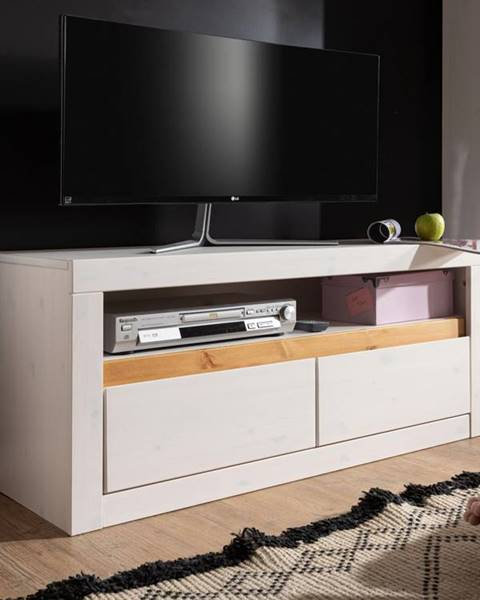 Bighome.sk ALBURY TV stolík 110x49 cm, borovica, biela