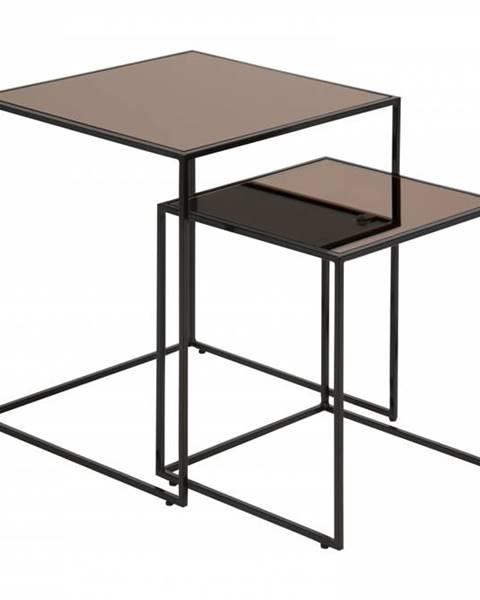 Bighome.sk Set konferenčných stolíkov BOLTON, čierna, hnedá