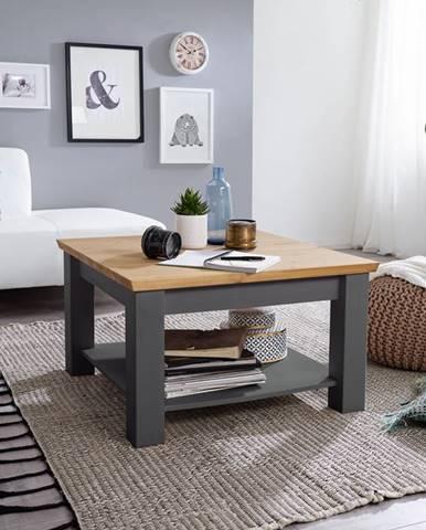 BIANCA Konferenčný stolík 75x75 cm, borovica, sivá