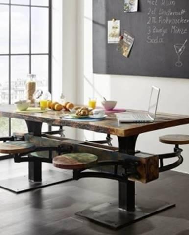 INDUSTRY Jedálenský stôl so stoličkami 180x90 cm, staré drevo