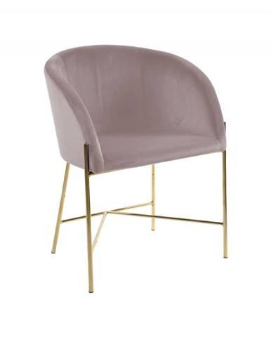 Jedálenská stolička s opierkami NELSON, ružová, zlatá