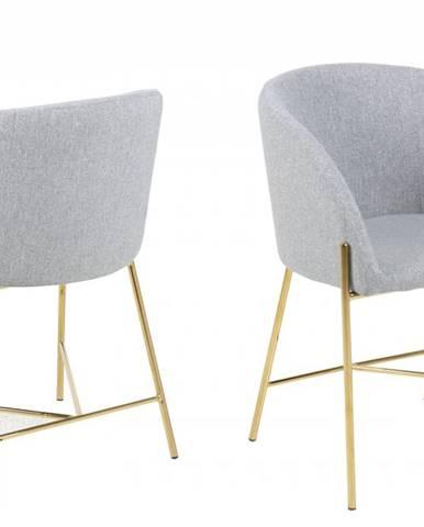 Jedálenská stolička s opierkami NELSON, svetlosivá, zlatá