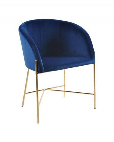 Jedálenská stolička s opierkami NELSON, tmavomodrá, zlatá