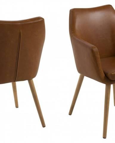 Jedálenská stolička s opierkami NORA, vintage hnedá