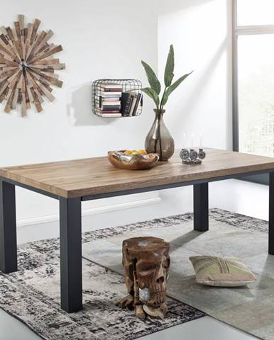 TIROL Jedálenský stôl 220x100 cm, tmavohnedá, dub