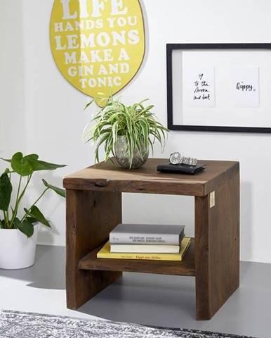 WOODLAND Nočný stolík bez šuplíka 45x45 cm, tmavohnedá, akácia