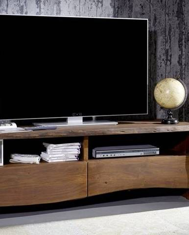 WOODLAND TV stolík 151x50 cm, tmavohnedá, akácia
