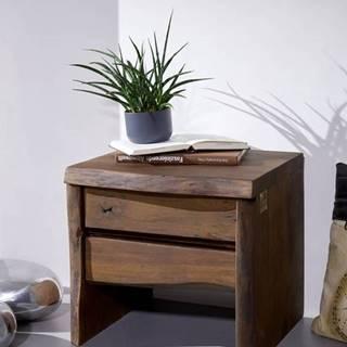 WOODLAND Nočný stolík 40x45 cm, tmavohnedá, akácia