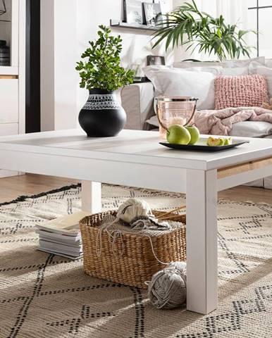 ALBURY Konferenčný stolík 110x70 cm, borovica, biela
