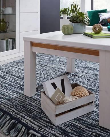 ALBURY Konferenčný stolík 70x70 cm, borovica, biela