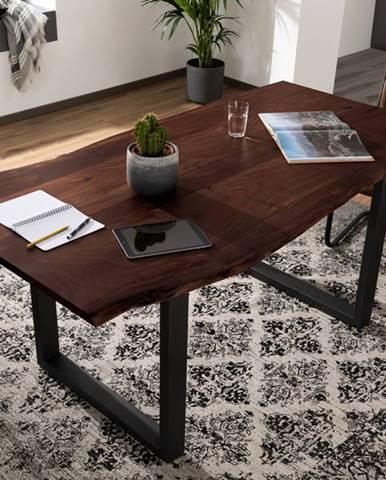 METALL Jedálenský stôl s antracitovými nohami (matné) 120x90, akácia, hnedá