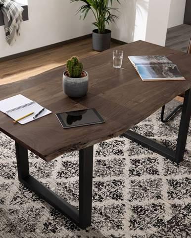 METALL Jedálenský stôl s antracitovými nohami (matné) 120x90, akácia, sivá
