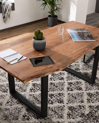 METALL Jedálenský stôl s antracitovými nohami (matné) 140x90, akácia, prírodná