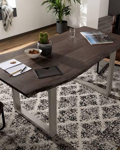 METALL Jedálenský stôl so striebornými nohami 140x90, akácia, sivá