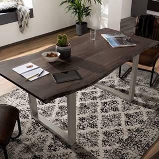 METALL Jedálenský stôl so striebornými nohami 160x90, akácia, sivá