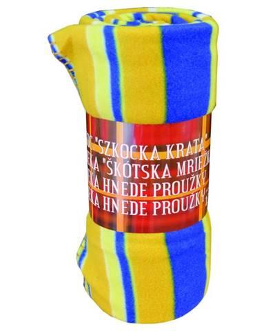 Flísová deka modro-oranžová mriežka 130x170