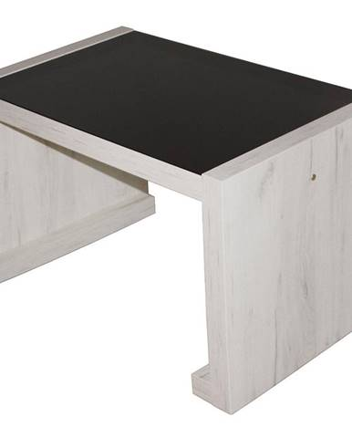 Konferencny stolik Arsinoe dub kraft biely/čierne sklo