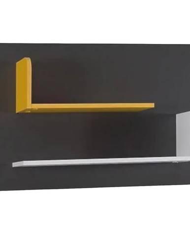 Polička Bruno  6 100/60/22 grafit/enigma/žltá