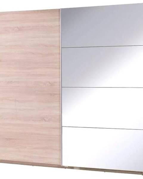 MERKURY MARKET Skriňa Twister 3 225 cm dub sonoma/zrkadlo