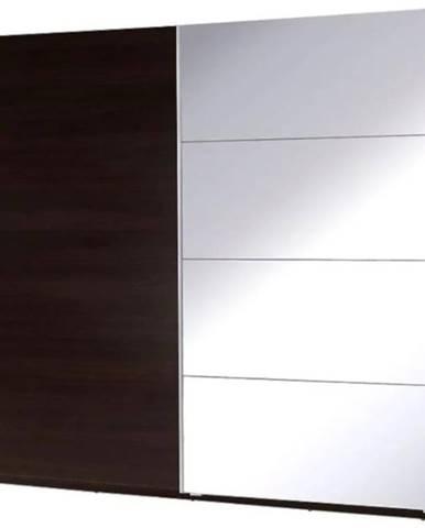Skriňa  Twister 3 225 cm Gaštan  wenge/zrkadlo
