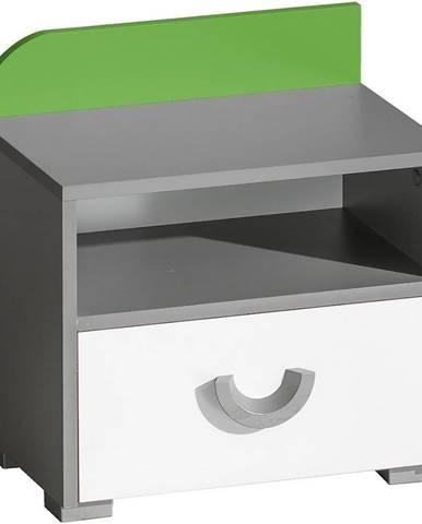 Nočný stolík Futuro F12 Zelená/Biely/Grafit