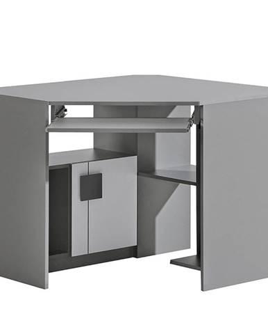 Rohový písací stôl Gumi G11 Brilantná biela/Antracyt