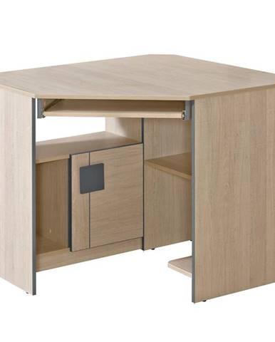 Rohový písací stôl Gumi G11 Dub Santana/Sivá