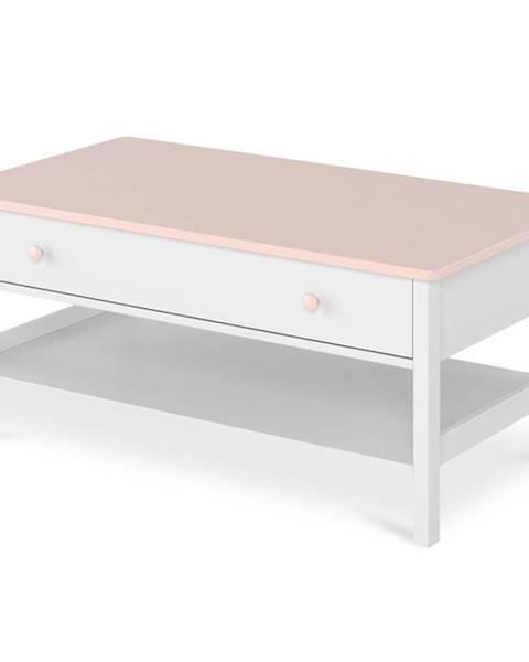 MERKURY MARKET Konferenčný stolík 1S Luna LN-15 biely/ružové