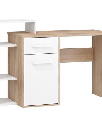 Písací stôl L Rio-03 sonoma svetlý/biely