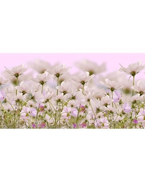 AQUA MERCADO Dekor sklenený Biele kvety 1 20/50