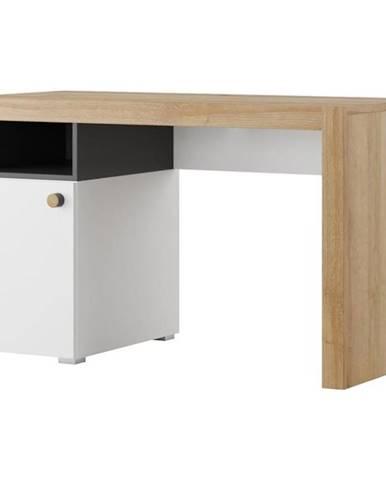Písací stôl 40 čierna mat/dub riviera/biala