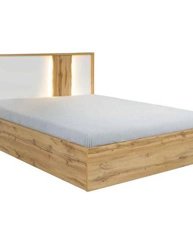 Posteľ Wood 31 160x200 bez úložného priestoru biela/wotan