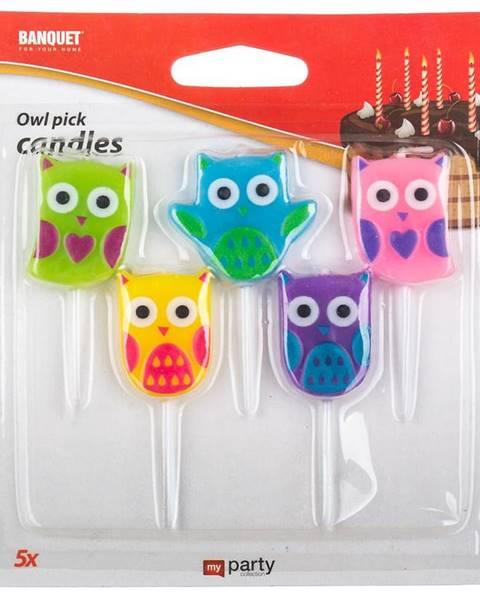 MERKURY MARKET Narodeninové sviečky owl 5 ks My Party