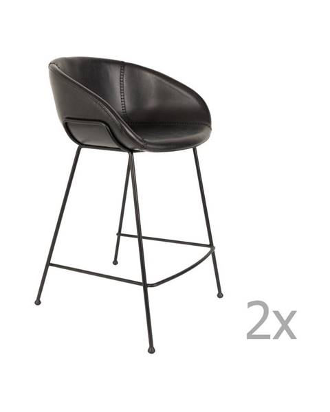 Zuiver Sada 2 čiernych barových stoličiek Zuiver Feston, výška sedu 65 cm