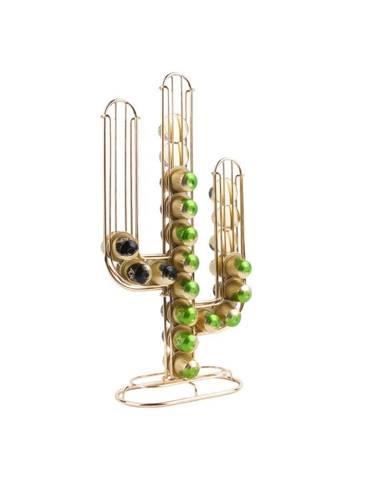 Stojan na 48 kávových kapsúl v zlatej farbe Present Time Cactus