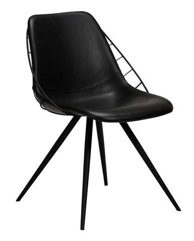 Čierna jedálenská stolička z imitácié kože DAN-FORM Denmark Sway