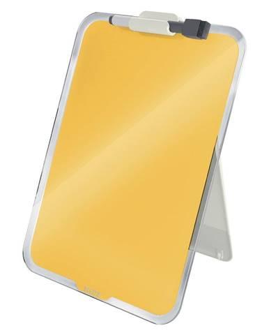 Žltý sklenený flipchart na stôl Leitz Cosy, 22 x 30 cm