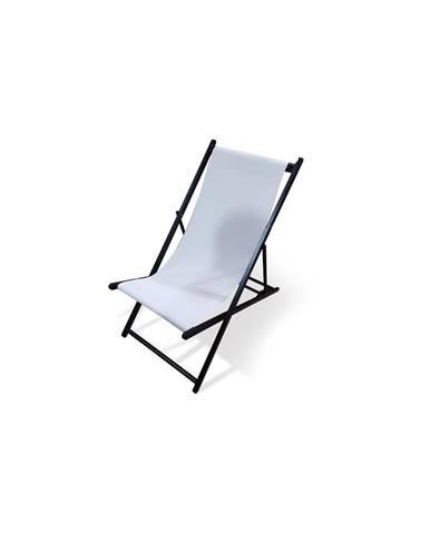 Biele skladacie záhradné ležadlo Le Bonom Deck, dĺžka 106 cm