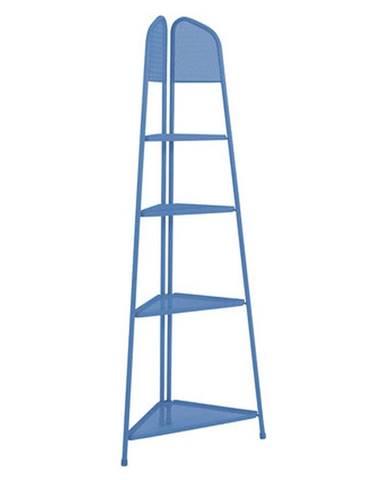 Modrá kovová rohová polica na balkón ADDU MWH, výška 180 cm