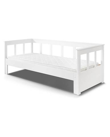 Biely rám postele z masívneho borovicového dreva Vipack Pino, 200×90 cm