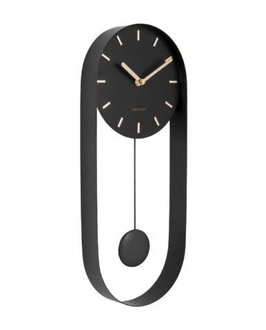 Čierne kyvadlové nástenné hodiny Karlsson Charm