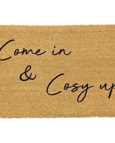 Čierna rohožka z prírodného kokosového vlákna Artsy Doormats Come In & Cosy Up, 40 x 60 cm