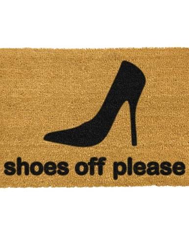 Rohožka z prírodného kokosového vlákna Artsy Doormats Shoes Off Please, 40 x 60 cm