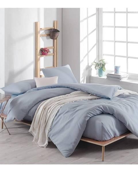 EnLora Home Svetlomodré bavlnené obliečky s plachtou na dvojlôžko, 220 × 240 cm