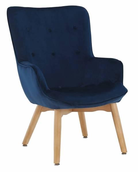 Tempo Kondela Dizajnové kreslo modrá Velvet látka FODIL