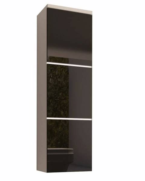 Tempo Kondela Skrinka vysoká biela/čierny extra vysoký lesk HG MASON BL11