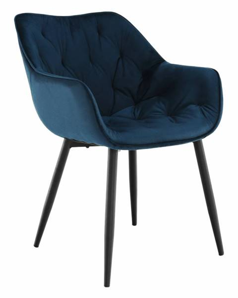 Tempo Kondela Dizajnové kreslo modrá Velvet látka FEDRIS