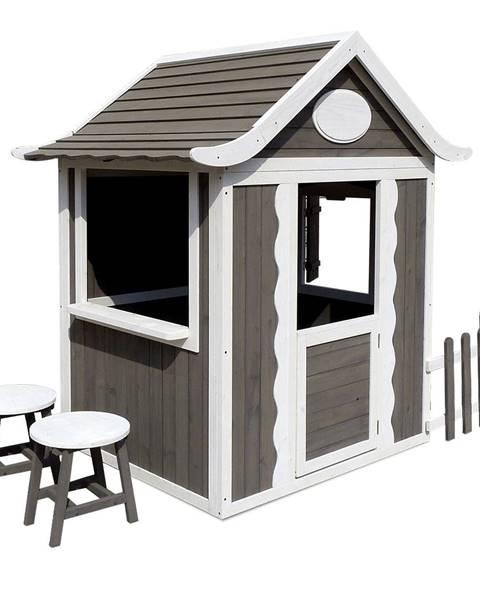 Tempo Kondela Drevený záhradný domček s taburetmi a poštovou schránkou sivá/biela PEOR