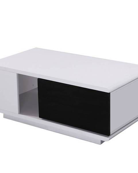 Tempo Kondela Konferenčný stolík MDF biela/čierna extra vysoký lesk DEMBA LCT300 poškodený tovar