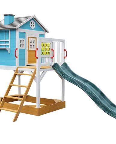Drevený záhradný domček pre deti so šmykľavkou a pieskoviskom PORTIO